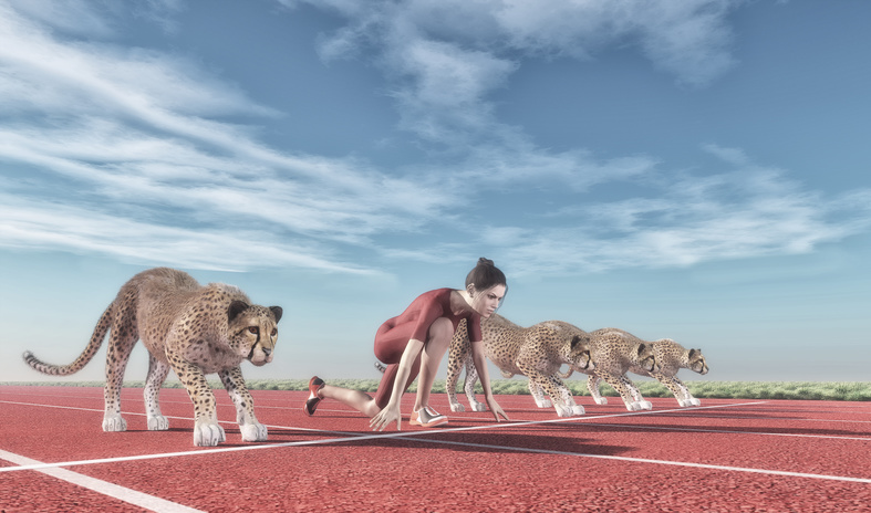 Athletic woman with a cheetah